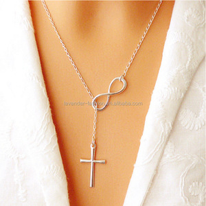 Simple design Infinity love and Cross pendant Necklace for gift