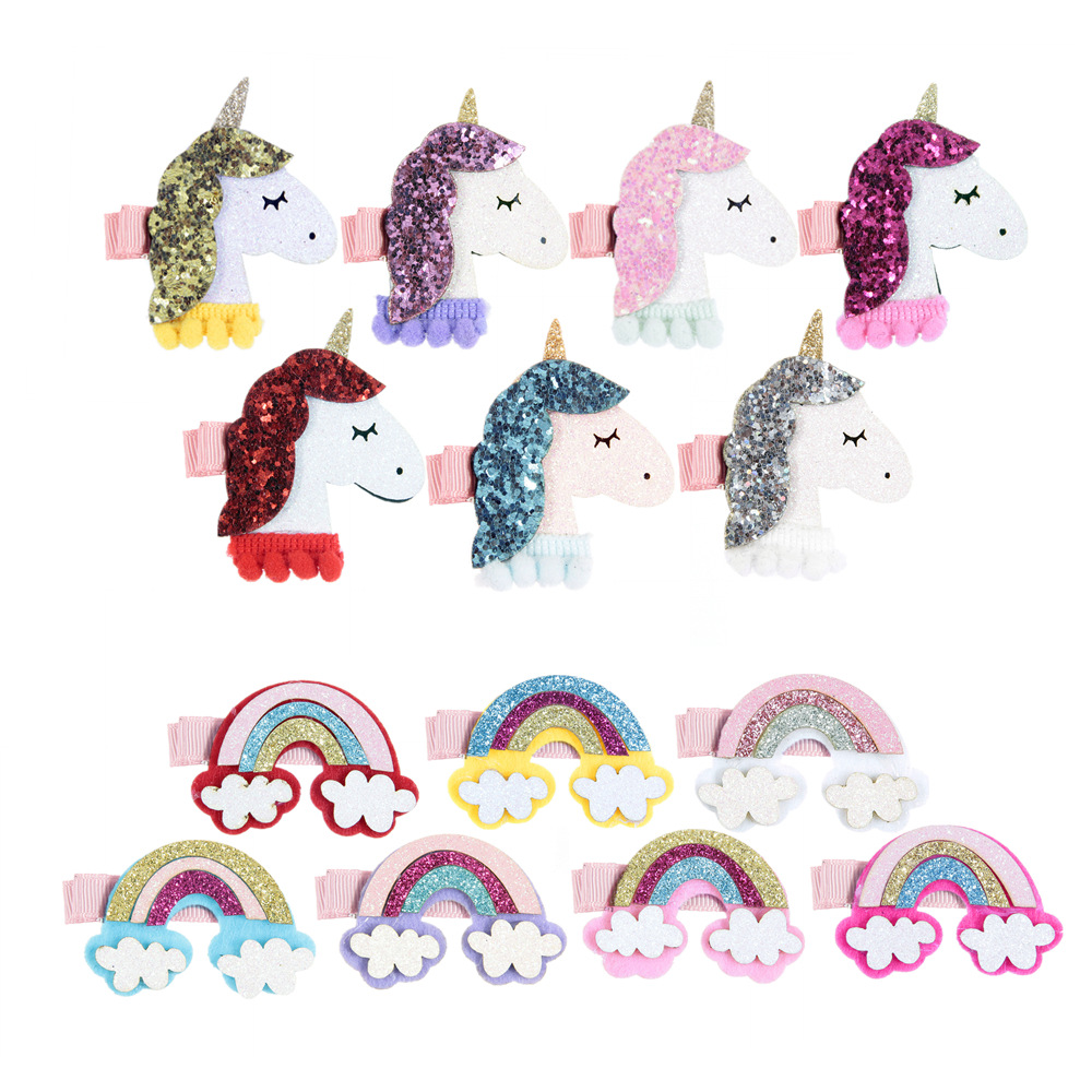 2018 Alibaba Express New Style Cute Animal Unicorn <strong>Hair</strong> Clips For Girls Kids <strong>Hair</strong> <strong>Accessories</strong> For Sale FE065