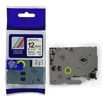 PUTY compatible tze label tape12mm black on white tze-231 for p-touch printer