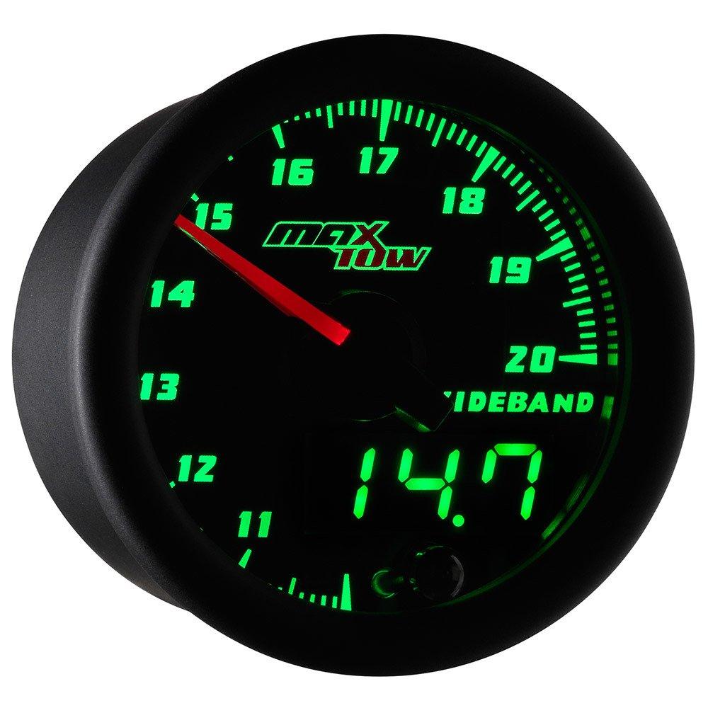 MaxTow Black & Green Wideband Air/Fuel Ratio Gauge with Oxygen Sensor & Data Logging Controller