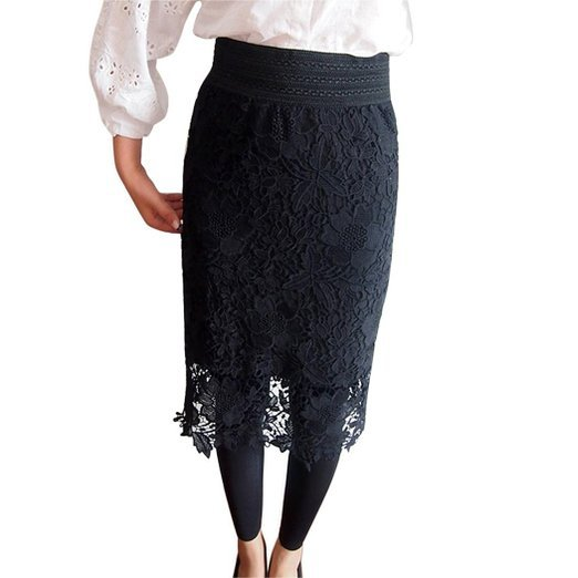 290f45316 Get Quotations · Saia Midi Summer Style Bodycon Pnecil Midi Lace Skirt 6XL  Plus Size Women Black Office Skirts