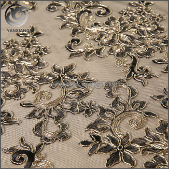 Wholesale golden tape flower embroidery tulle fabric
