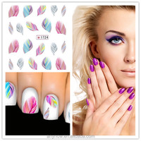 Water Nail Transfers Nail art decals Colorful feather Nail stickers