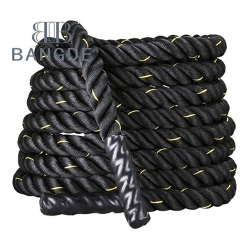 "Black 1.5""/2"" Diameter Poly Dacron 30/40/50ft Length Power Battle Rope Workout Training Undulation Battle Rope"