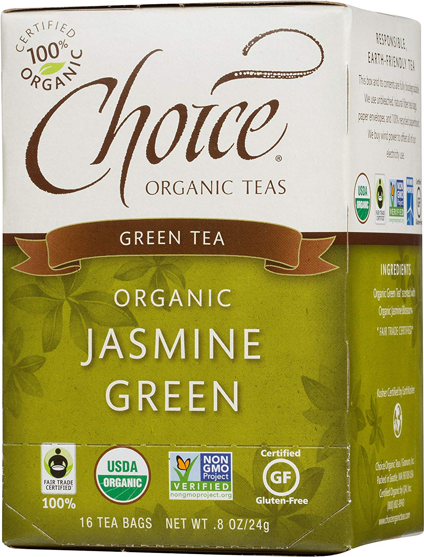 Choice Organic Teas Green Tea, Jasmine Green, 16 Count, Pack of 6