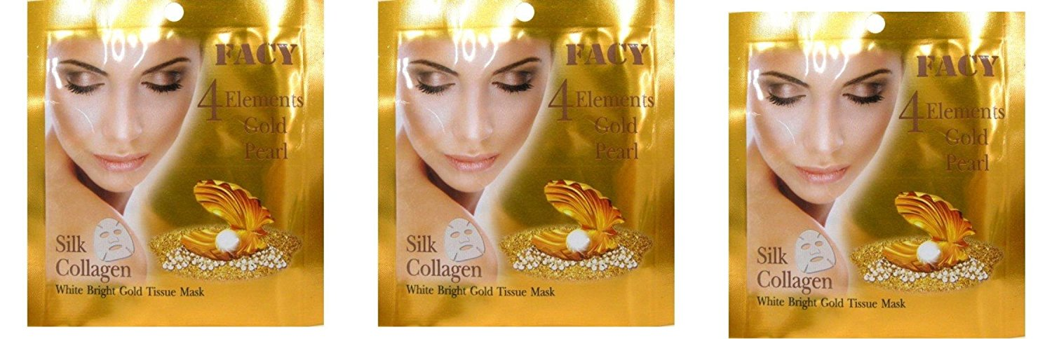 Beauty Set : 3 Units of Facy : 4 Elements Gold Pearl Silk Collagen White Bright Gold Tissue Mask Beauty Product of Thailand [Free Facial Hair Epicare Spring A1Remover]