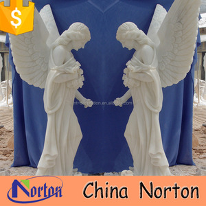 outdoor white marble winged life size angel statue NTMS-R407S