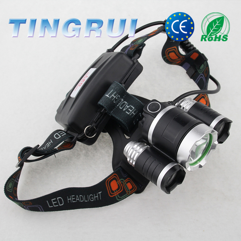 Adjustable T6 Rechargeable Outdoor Lenser 3 Led Headlamp