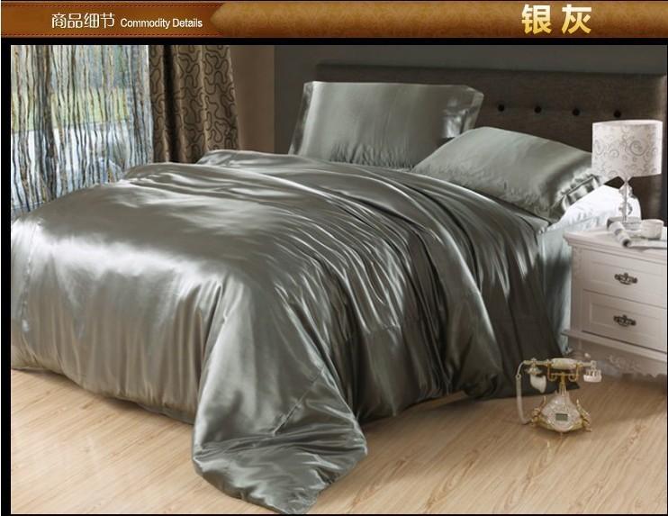 Luxury Silver Grey Silk Satin Bedding Comforter Set King