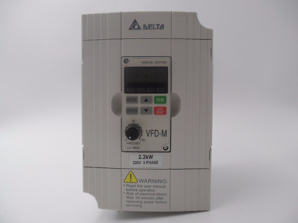 GOWE Variable-frequency Drive for VFD022M23B 3 Phase 220V 2.2KW Delta VFD Inverter 3HP Variable-frequency Drive Frequency Converter 0.1~400Hz for Milling