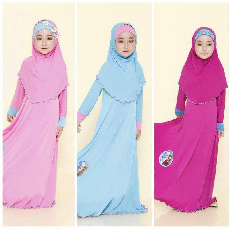 Hot Selling Frozen Girl Dress for Muslim Girls Chiffon Children Dress+Scarf Set