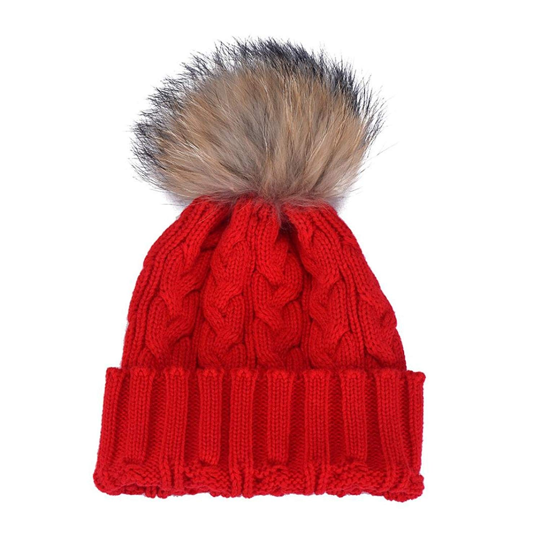 d419eb8c62973 Get Quotations · ABC® Women Winter Crochet Hat Fur Wool Knit Beanie Raccoon  Warm Cap