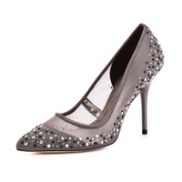 fashion classic office lady high heel mesh upper with rhinestone girls shoes