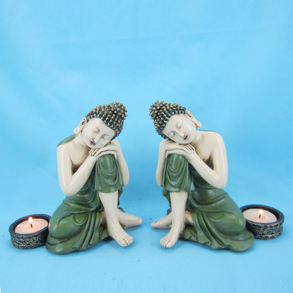 2/s resin sleeping buddha candle holder for home decor