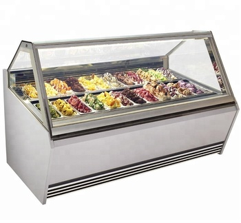Curved transparent glass cover highlight display Ice Cream Freezer with CE