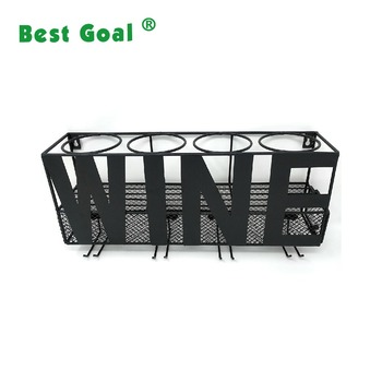 Home Metal Wall Mounted Wine Bottle Rack With Cork Holder Buy