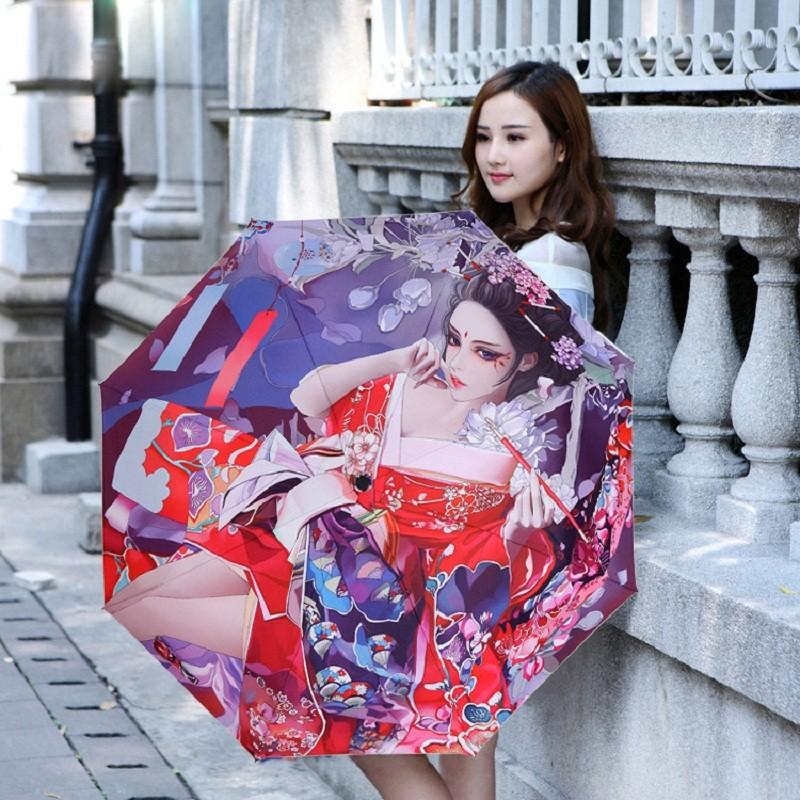 71fc77556bb8 Japanese-style Girl Three Fold Art Painting Umbrella Adults And Kids Rain  Umbrellas High Quality Women Anti-uv Parasol - us544