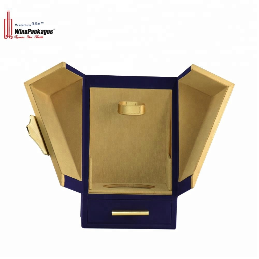 Luxury custom blue leather single bottle wine display box