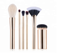 Gold rod six pcs makeup brushes high gloss brush powder brush