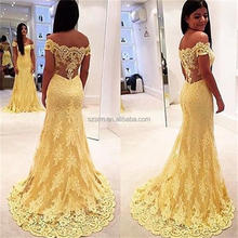 Real Photos Yellow Lace Mermaid Floor Length Sleeveless Off-Shoulder Formal Party Wear Gown 2018 Evening Dress