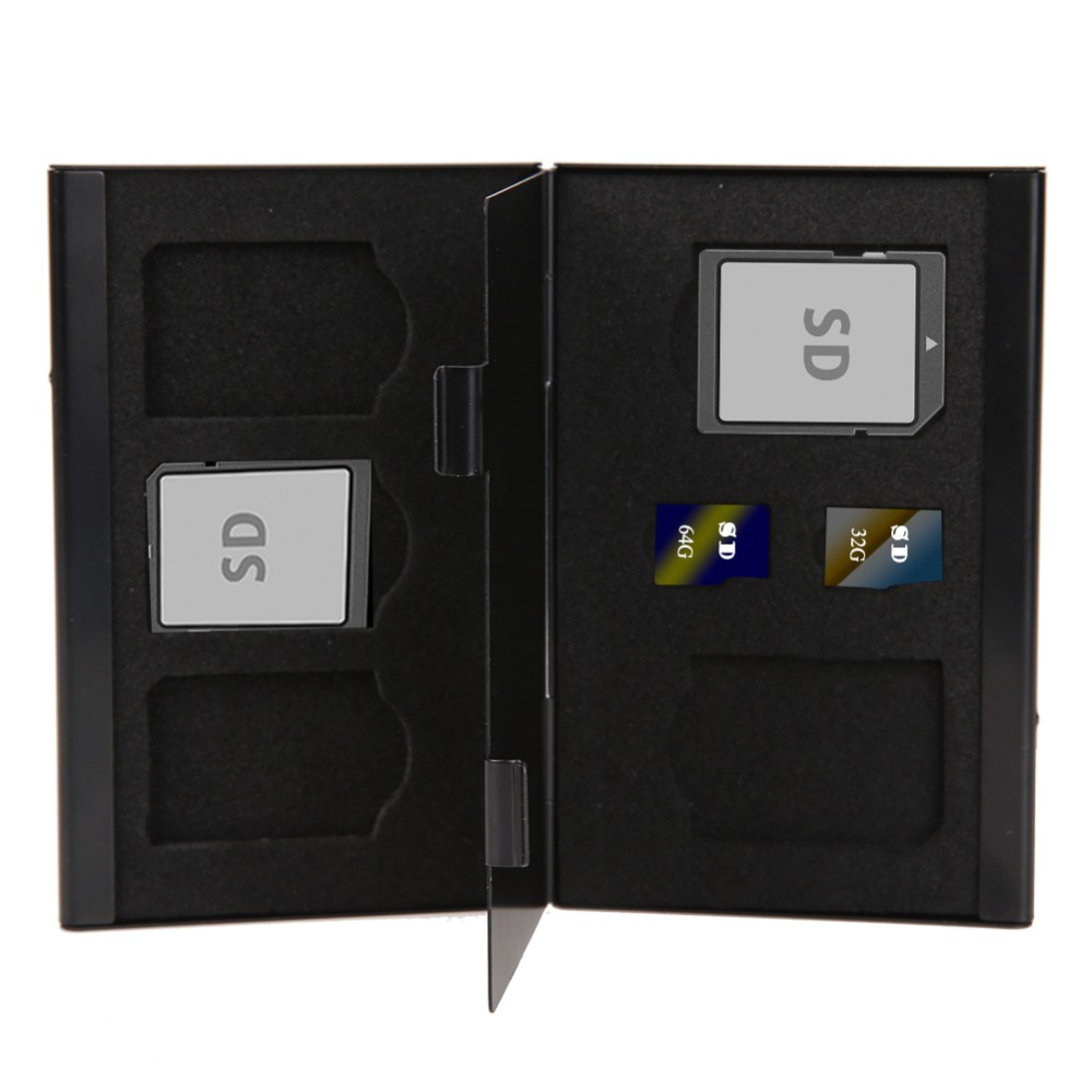 High Quality Black Aluminum 5SD+ 2TF Micro SD Cards Pin Memory Card Storage Box Case Holder Protector