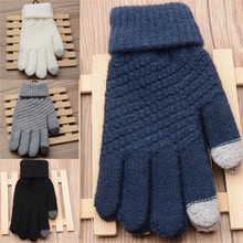 Fashion Winter Warm Unisex Women Man Stretch Knit Mittens Touch Screen Gloves For Mobile Phone