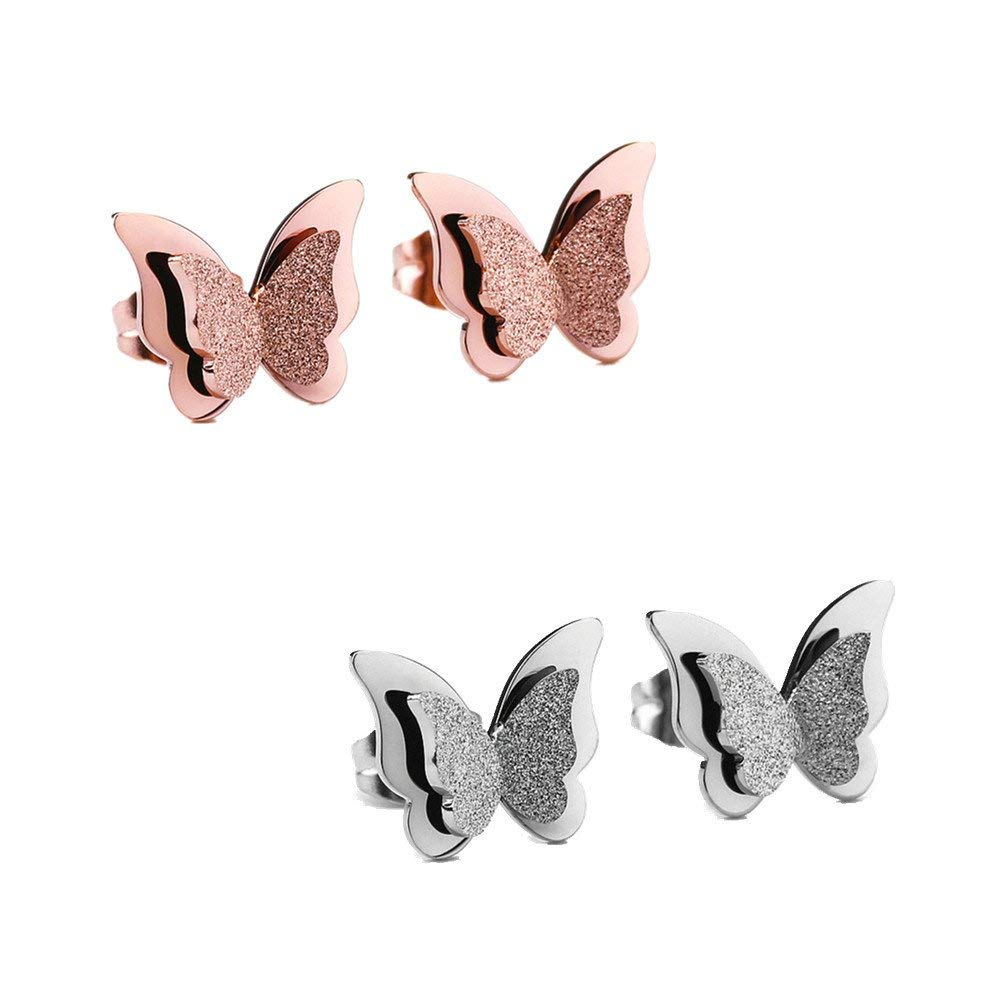 Womens Girls Ear Jewelry Stainless Steel Frosted Butterfly Stud Earrings with Gift Box