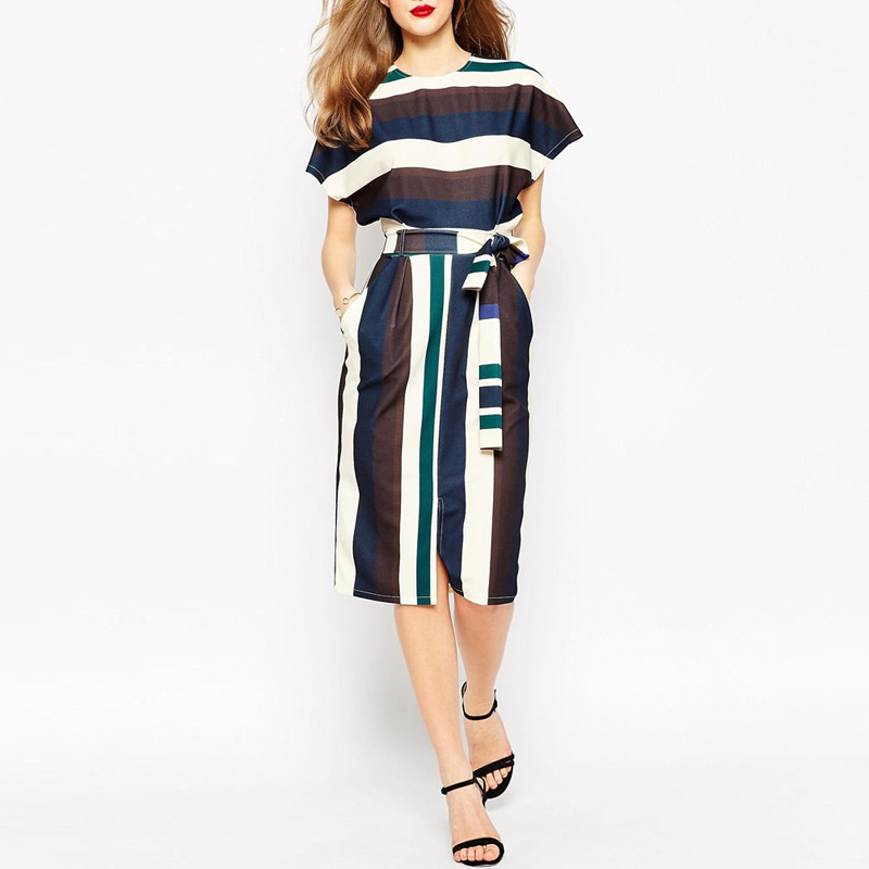 Wholesale China Supplier Colorblock Stripe Belt Waist Loose Fit Fashion Dress 2017 Women Clothing