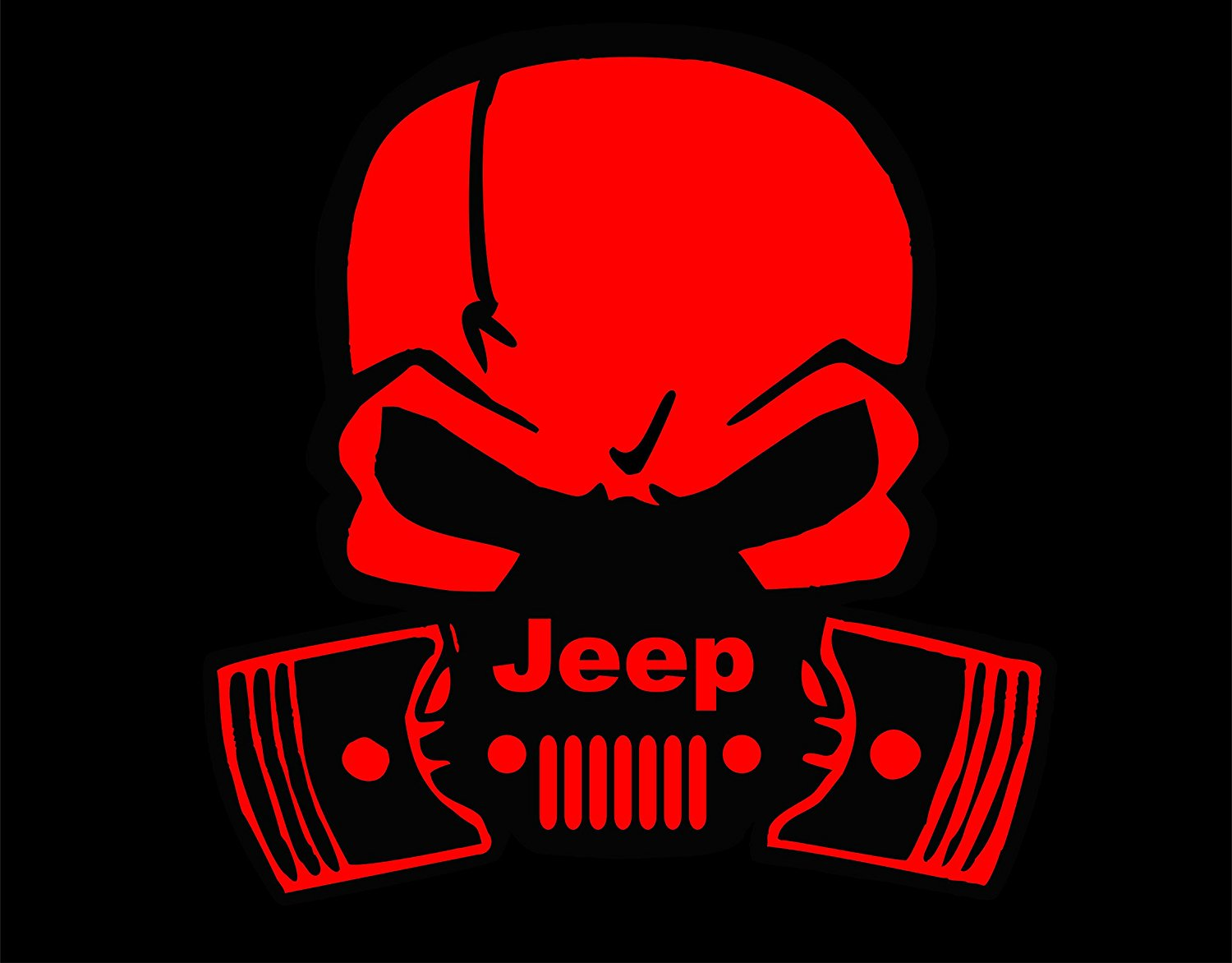 """Jeep Skull and Pistons Decal Vinyl Sticker / 6""""x5"""" / Red / Free Shipping! / Jeep Wave, Eat Sleep Jeep, Jeep Hand (Red)"""
