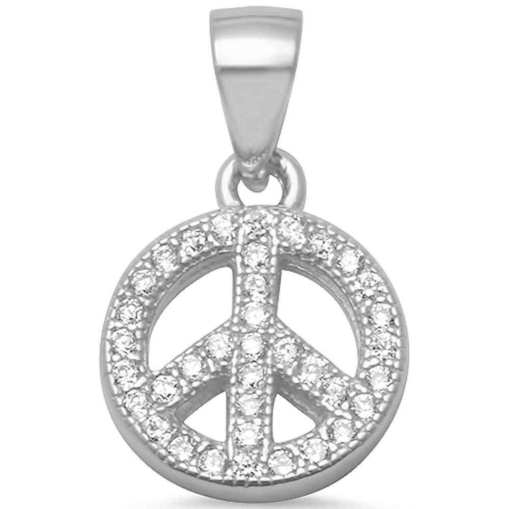 Brightt Micro Pave Cz Peace Sign .925 Sterling Silver Pendant