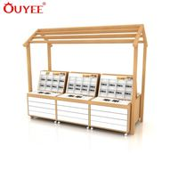 House Shape Wood Floor Display For Optical Shop