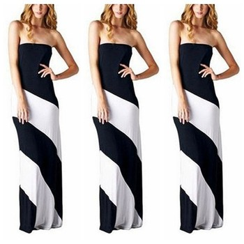 1ab6ea5bbd7b MQT2203 White Black Strapless Bustline Color Blocked Cotton Knit Summer  Maxi Dress