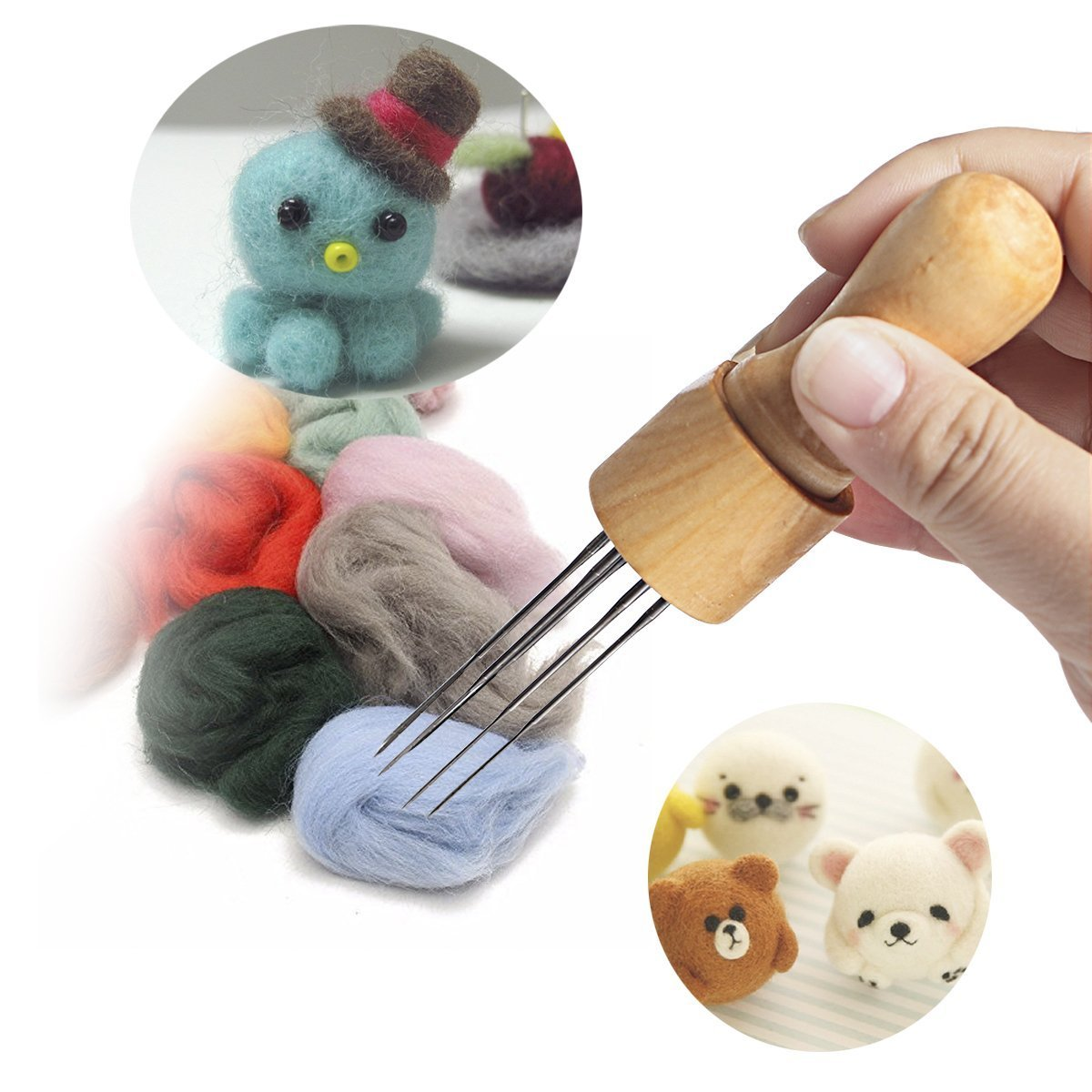 DIY Felting Needle with Eight Needles Tool Craft Wool Felt Stitch Punch Tool with Solid Wood Handle Felting More efficient