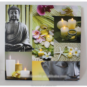modern paintings on canvas stretched and framed wall art buddha canvas painting with led lights