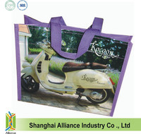 Long Nylon Webbing Handles Photo Picture Printing Laminated TNT Bag, Laminated Non-woven Shopper