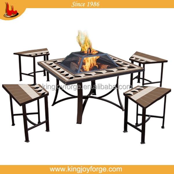Kingjoy Garden Table Fire Pit Set Patio