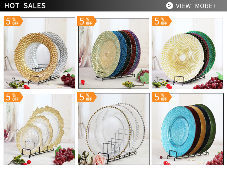 wholesale 13 Inch Cheap Clear Beaded Wedding Event Gold Rim or Silver Rim Glass Charger Plates