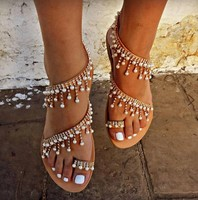 zm80031a new handmade beaded scandals flat big size fashion sandals European and American fashion ladies shoes