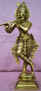 Hindu God Krishna statue Handmade of brass metal gold plated Home/Temple decor statue