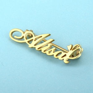 custom letter metal lapel pin and letter plate for collar