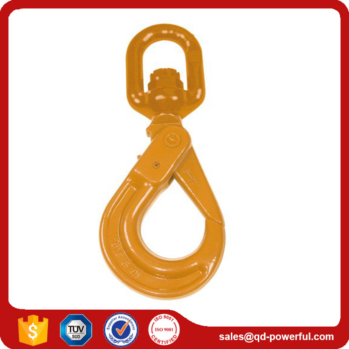 Hot Sale High Quality G80 Self Locking Safety Hook with Swivel Eye for chain slings