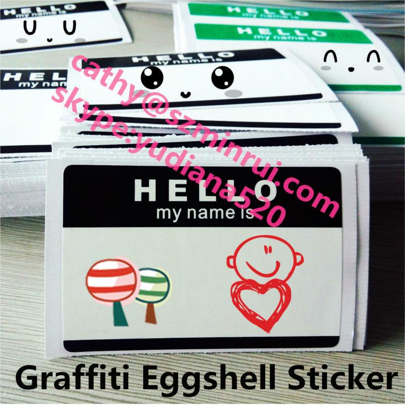 Hot sale custom sun proof uv ink printing self adhesive die cut graffiti my name eggshell