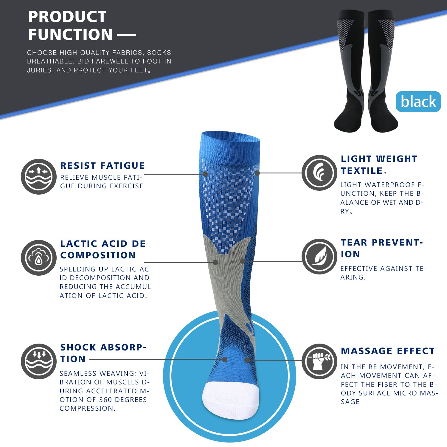 26812afa78 Get Quotations · Compression Socks for Men & Women(2 Pairs), BULESK Medical  Grade Graduated Recovery
