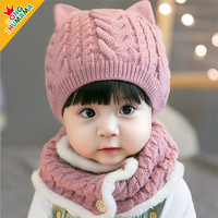 New style winter warm baby knitted beanie hat and scarf set for 2018
