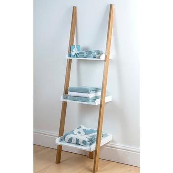3 Tier Bamboo Display Ladder Shelf Wall Mount Bathroom Storage Rack