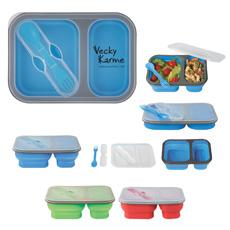 पर्यावरण के अनुकूल कॉम्पैक्ट बच्चों 2 डिब्बे खाद्य सील गर्म बर्तन के साथ दोपहर के भोजन के कंटेनर आयत बंधनेवाला सिलिकॉन bento बॉक्स