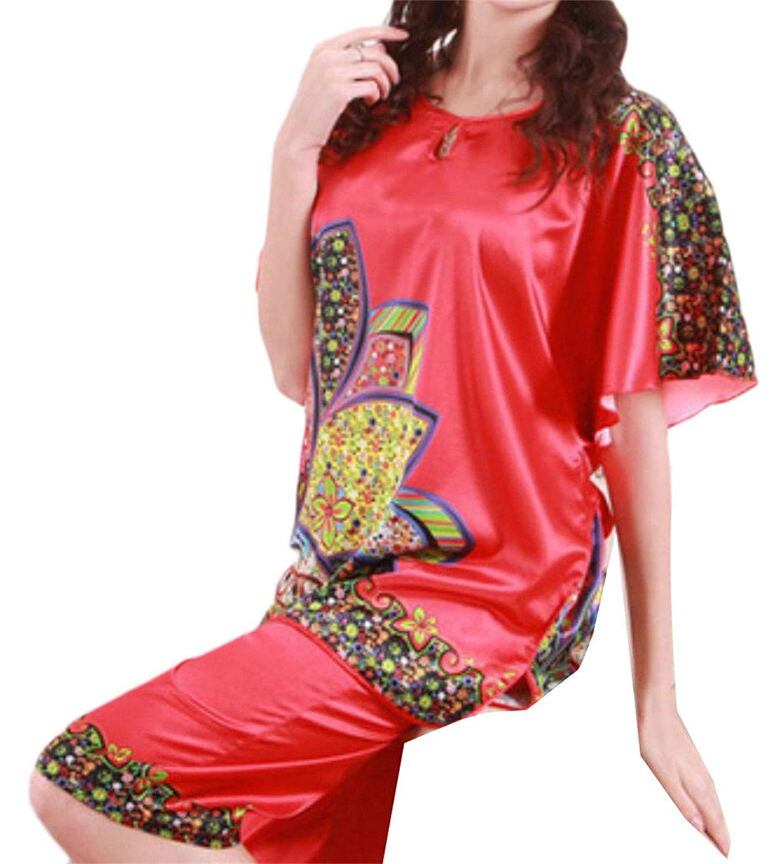Frieed Womens Satin Silk Print Loose Nightgowns Sleepwear Pajama Set