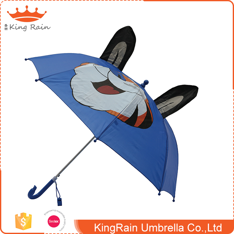 High quality 3D animal design zincification frame polyester straight kids umbrella
