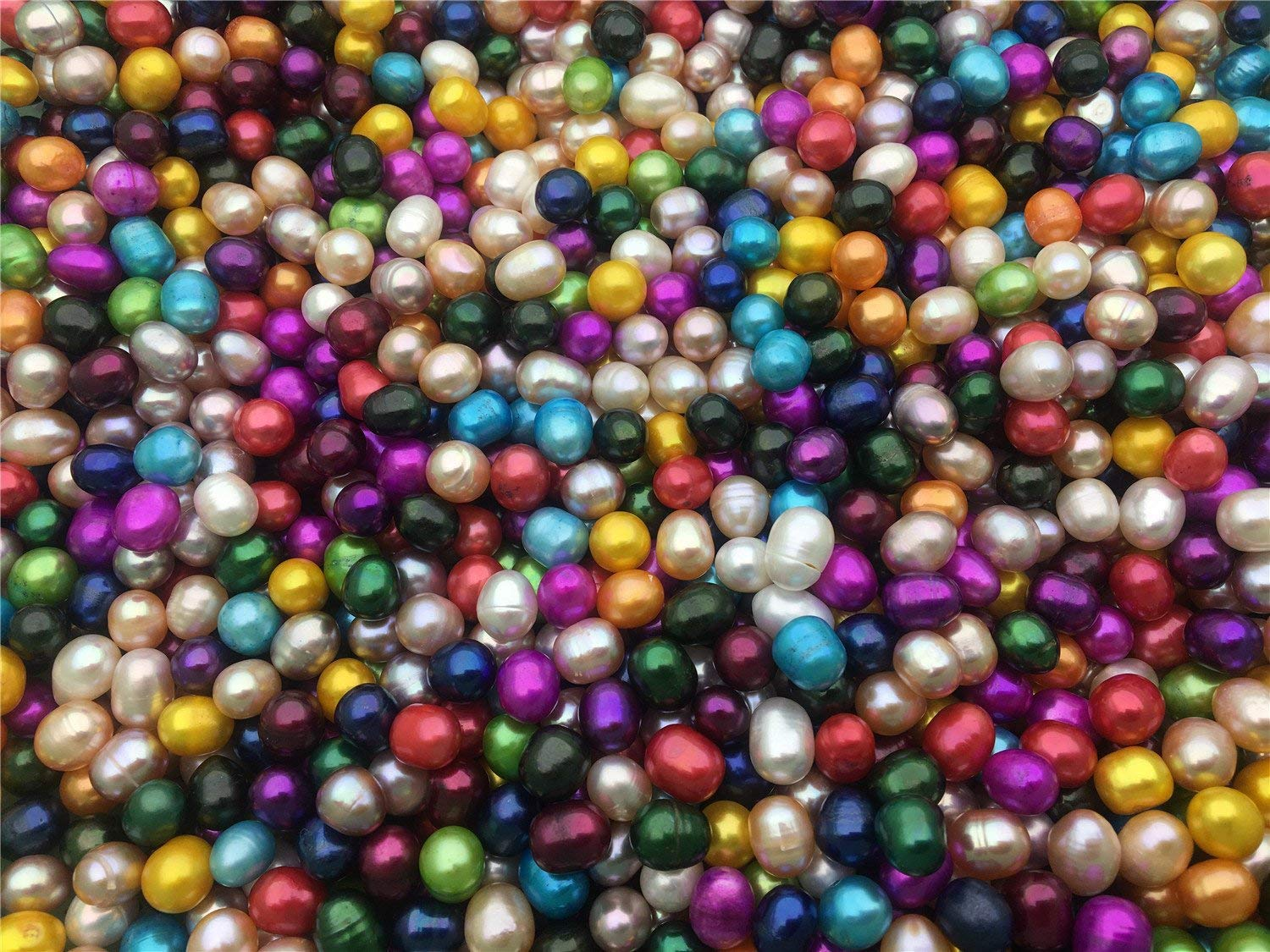 30pcs AA 7.5-8.5mm Multi Color Rice Cultured Freshwater Pearl Loose Pair Beads,Wholesale,OY-LR8-2A-2 (1:No Hole)