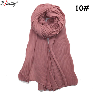 Hot Selling Plain Solid Color Crinkle Chiffon Hijab Oversized Muslim Long Shawl Wraps Crumple hijab